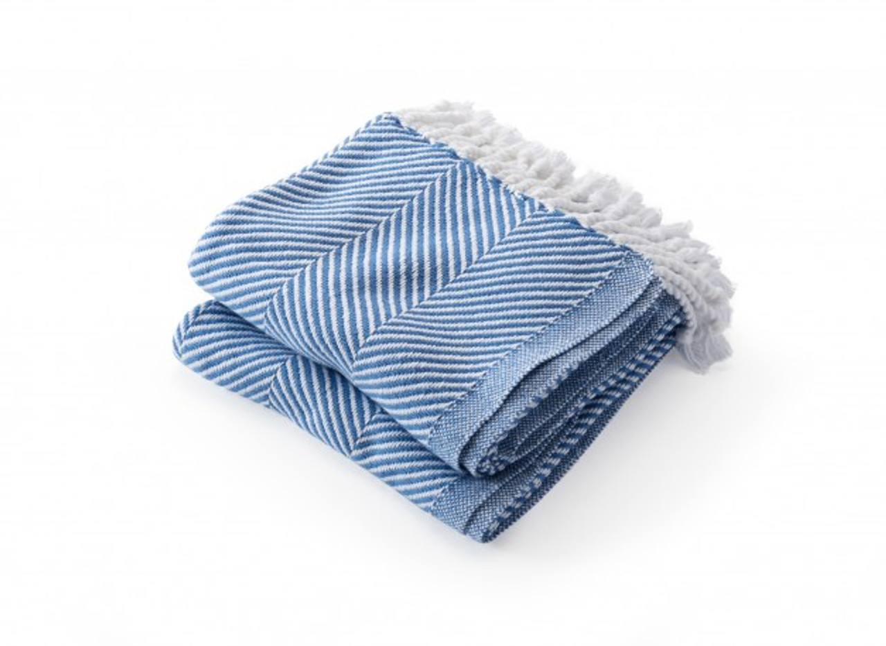 Brahms Mount Monhegan Cotton Throw Blanket Baja Blue Herringbone The Beach Plum Company