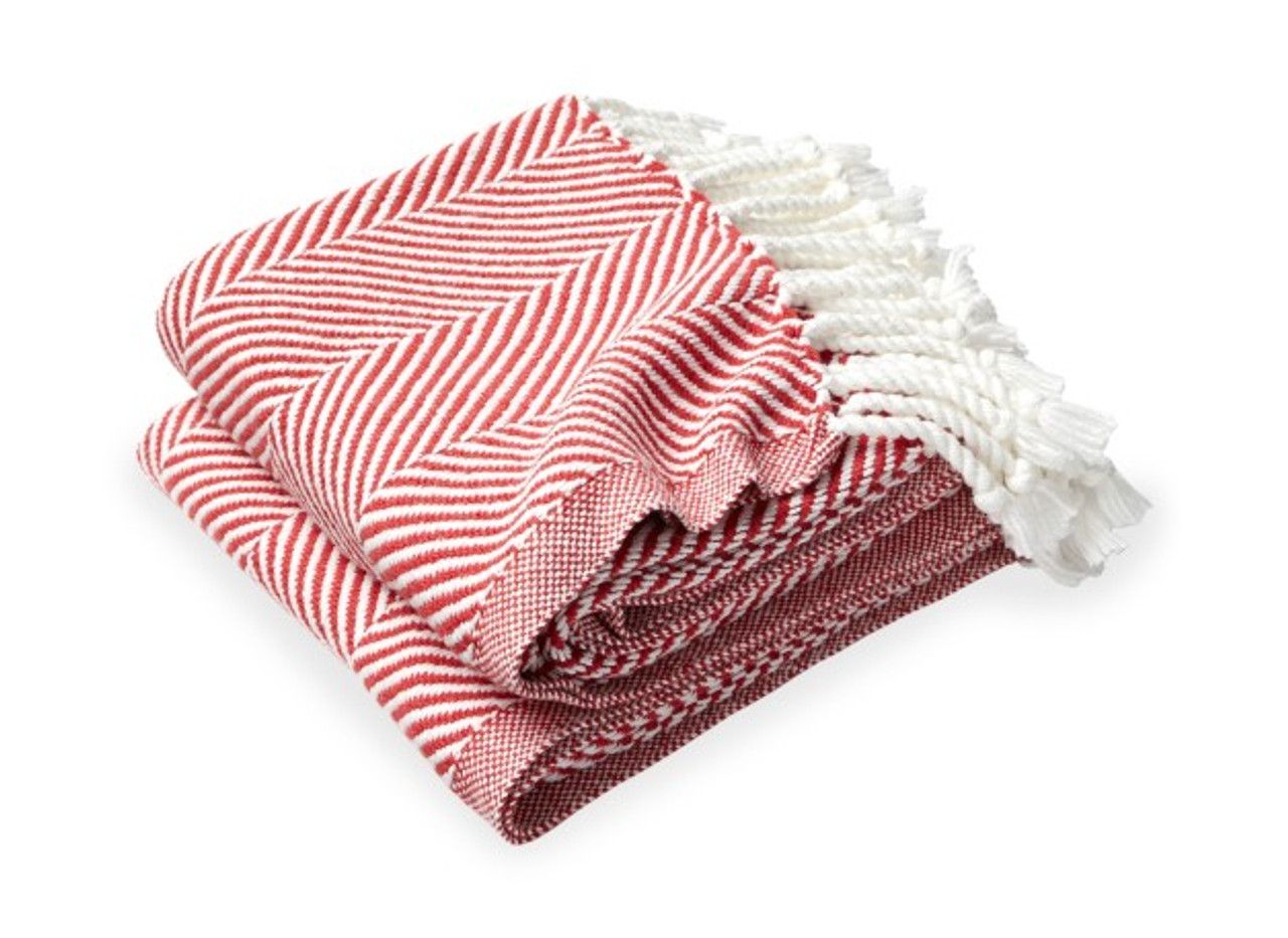 Brahms Mount Monhegan Cotton Throw Blanket Breton Red Herringbone The Beach Plum Company