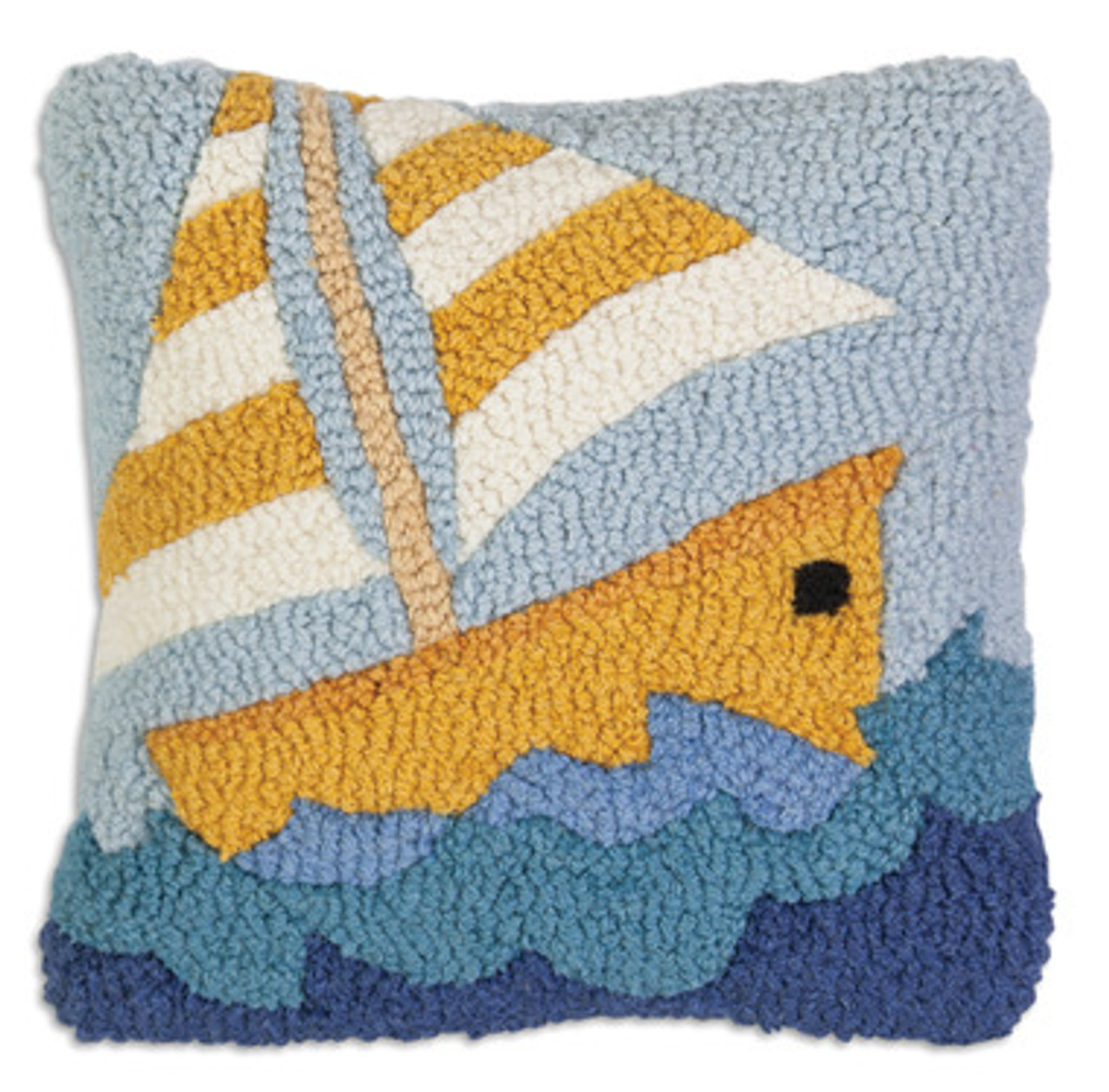 Yellow Sailboat Hooked Wool Pillow 14 X 14 The Beach Plum Company