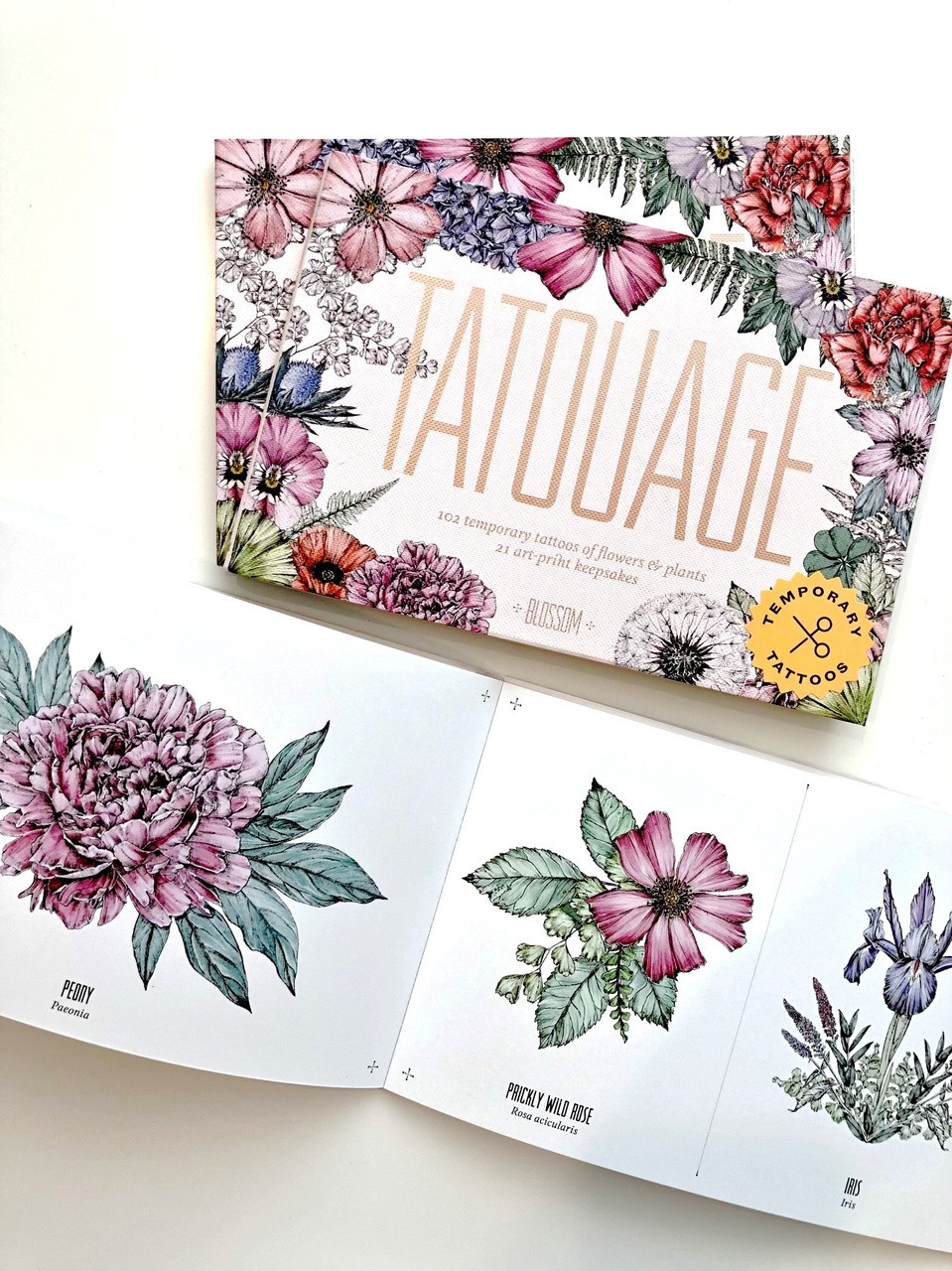 e034aa271 Tatouage: Blossom: 102 Temporary Tattoos of Flowers & Plants and 21  Art-Print Keepsakes ( Magma for Laurence King ) - THE BEACH PLUM COMPANY
