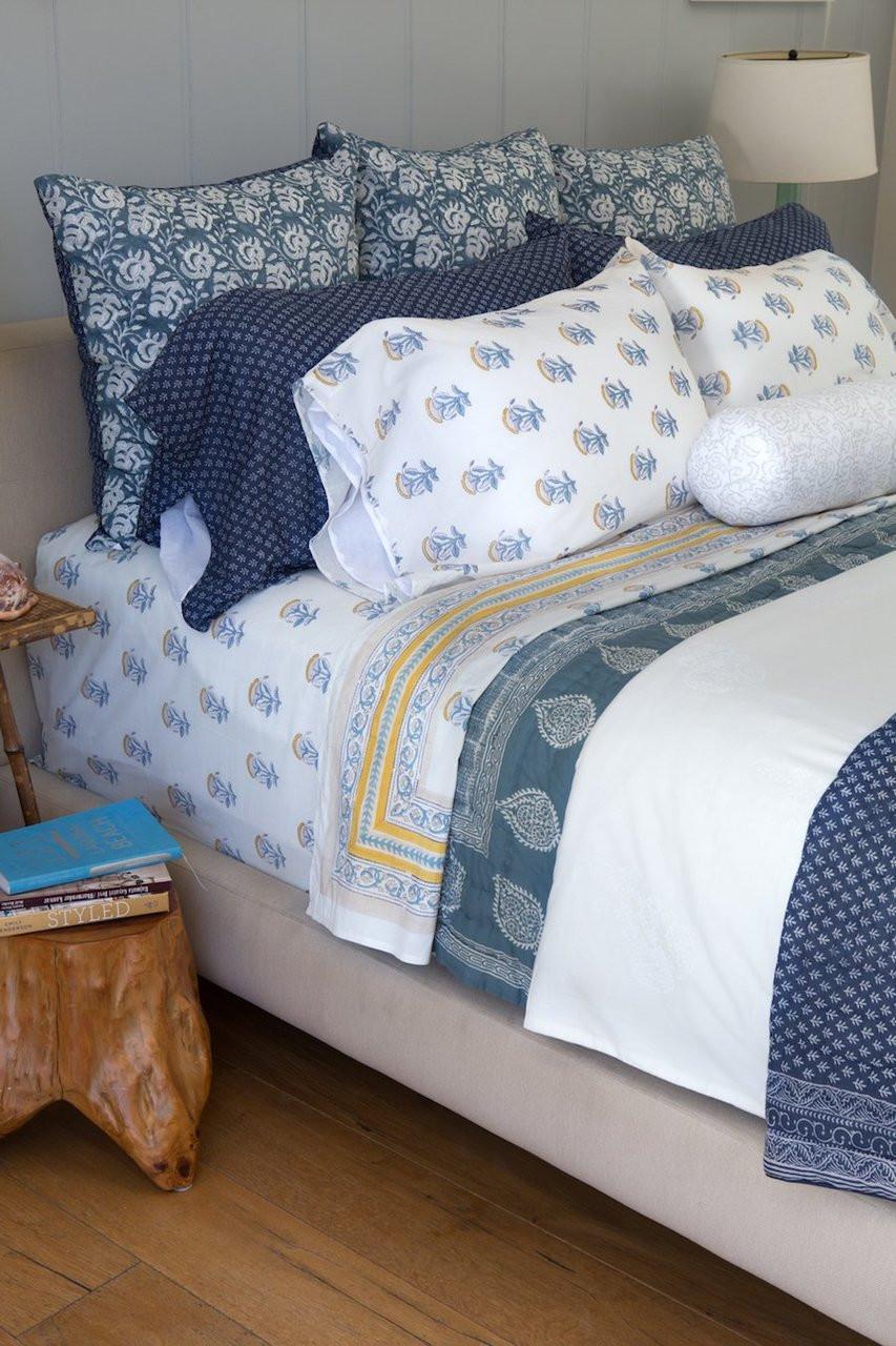 Queen quilt in light bandana light blue bandana print