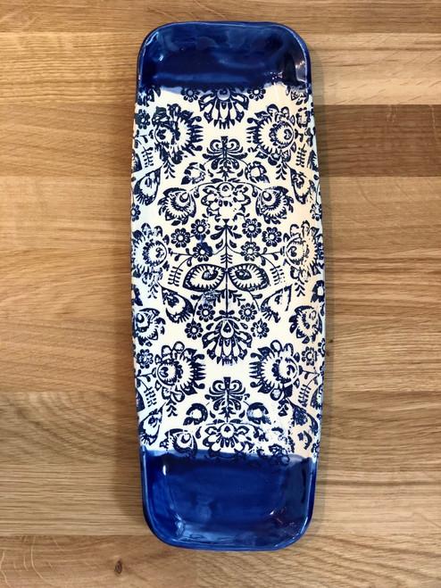 Cobalt Folk Long + Lean Platter Ceramic Pottery