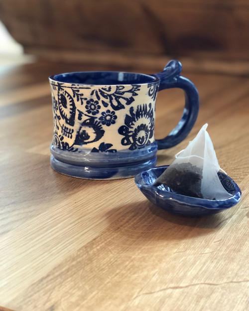Cobalt Folk Navy Mug Ceramic Pottery