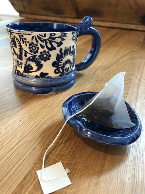 Cobalt Folk Meadow Pinch Bowl Dish Ceramic Pottery