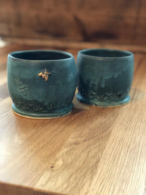 Large Patina Bee Planter Pot Ceramic Pottery