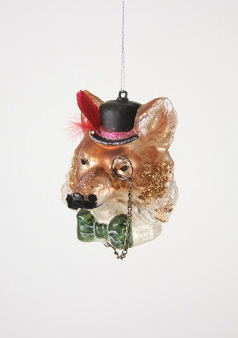 Gentleman Fox Glass Ornament