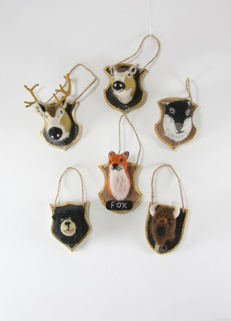 Felt Woodland Animal Plaque Trophy Ornaments in Assorted Styles Per Each