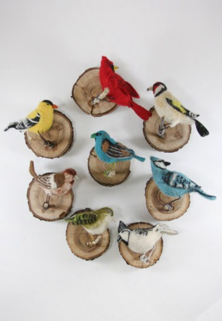 Felt Winter Bird Wood Wall Mount in Assorted Styles Per Each