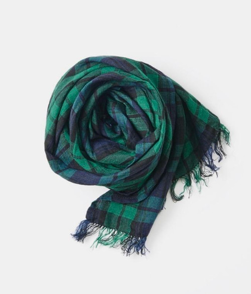 Linen Scarf in Green and Navy Plaid