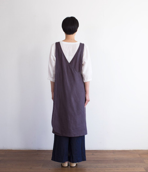 Linen Over Apron Dress in Mulberry Purple