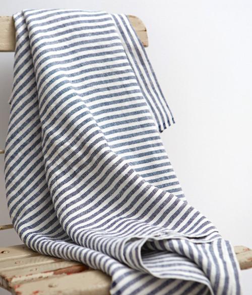 Chambray Linen Throw Blanket in Navy Stripe