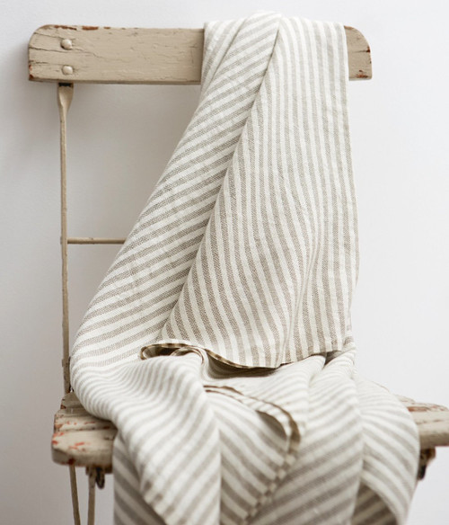 Chambray Linen Throw Blanket in Natural Stripe