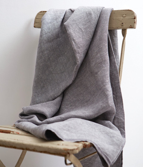 Chambray Linen Throw Blanket in Grey