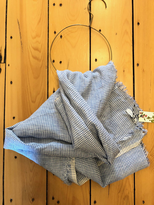 Tuz Linen Scarf in Light Blue Check