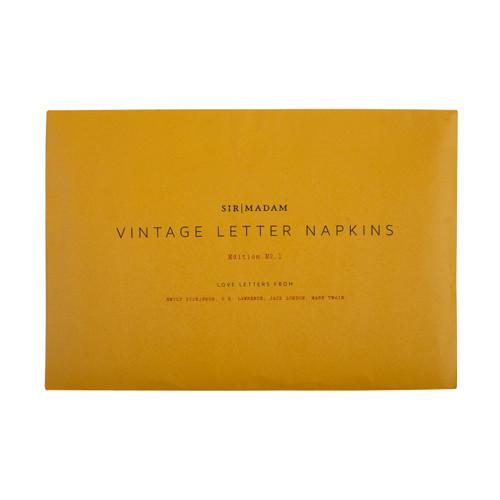Vintage Letter Napkins Ed. 1 Set 1, Love Letter Napkins, Set of 4