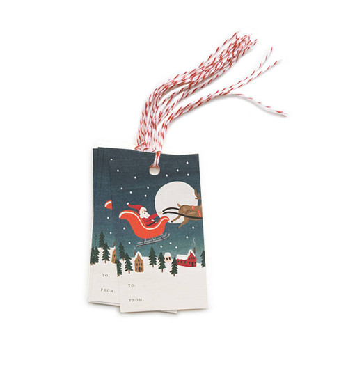 Santas Sleigh Gift Tags Set of 10