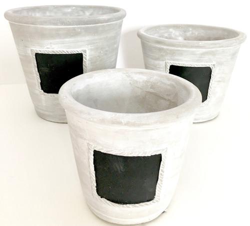 Chalkboard Cement Cachepot - Small