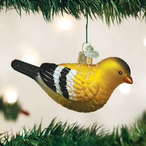 American Goldfinch Glass Ornament