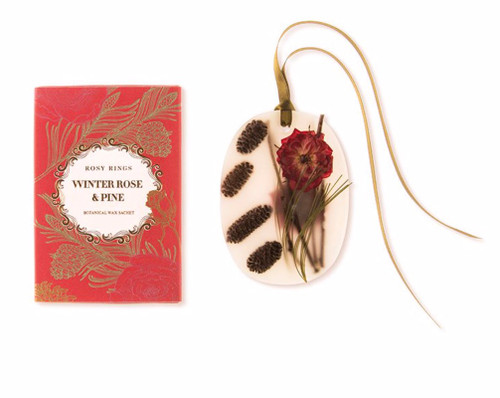Oval Botanical Wax Sachet – Winter Rose & Pine