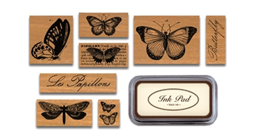 Butterflies Rubber Stamps Assorted Stamps and Black Ink Pad