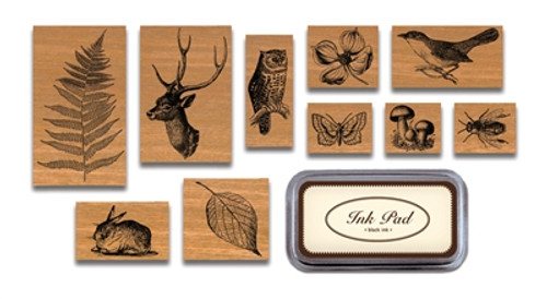 Flora and Fauna Rubber Stamp Set