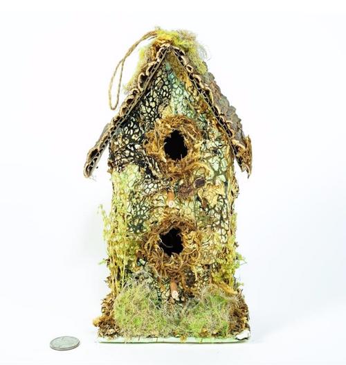 Birdhouse A Shape Green Moss w/ Lichen