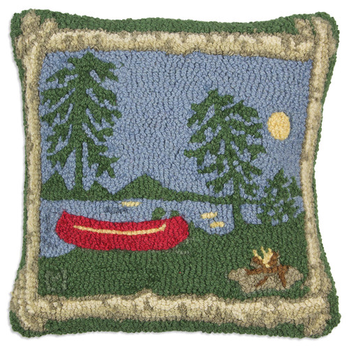 "Campfire Lake 18"" Hooked Pillow"