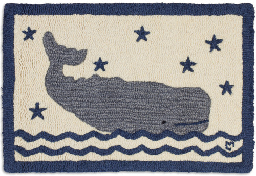 "Whale in Water 20"" x 30"" Hooked Wool Rug"