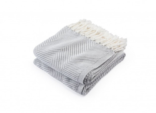 Brahms Mount Monhegan Cotton Throw Blanket Dove Gray Herringbone