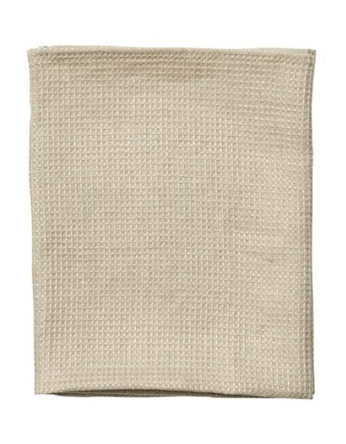 Large Waffle Linen Towel in Natural