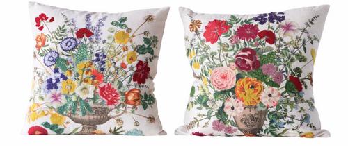 """18"""" Square Cotton Floral Pillow"""