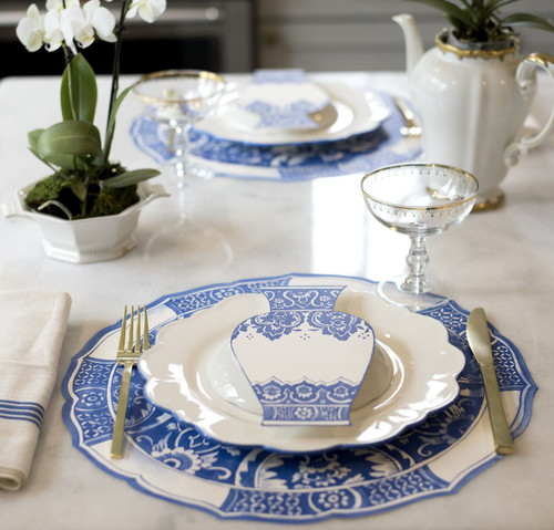 China Blue Die Cut Paper Placemat Sheets 12 Pack