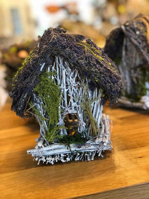 Bird House with Twigs and Moss and Lavender 7""