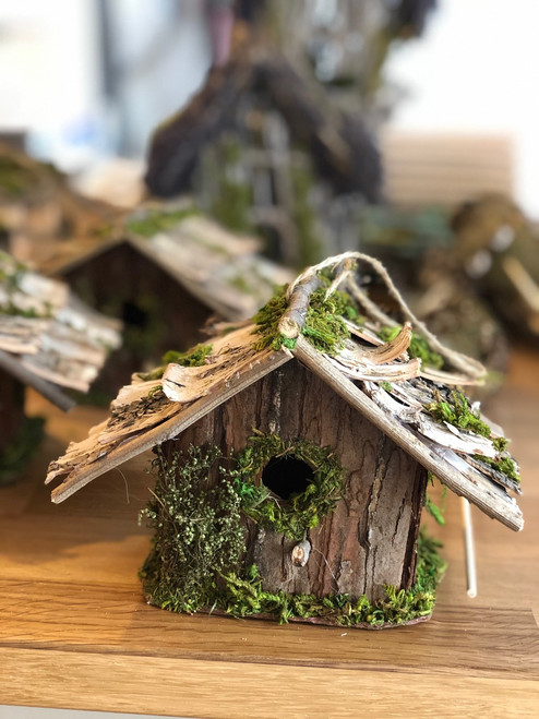 "Bird House with Twigs and Moss 4"" x 6"""