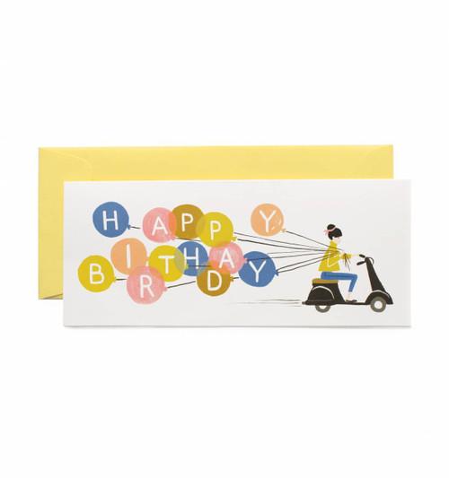 Balloon Moped Happy Birthday Card