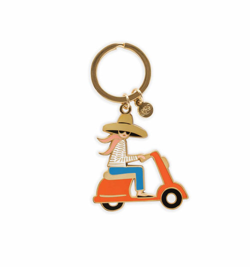 Girl on Scooter Moped Keychain