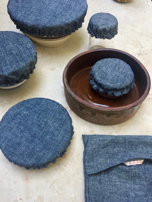 Cloth Bowl Covers -  Set of 5 - Nordic Blue Chambray/Natural