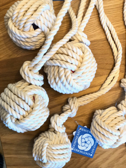 Downeast Knotworks Monkey's Fist Little Dog Pull Toy in NATURAL