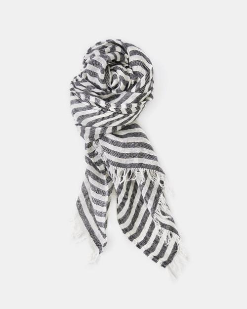 Coady Stripe Scarf in Black and White Linen