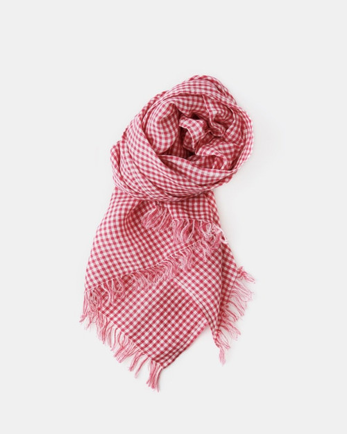 Roserie Melissa Scarf in Pink and White Check Linen