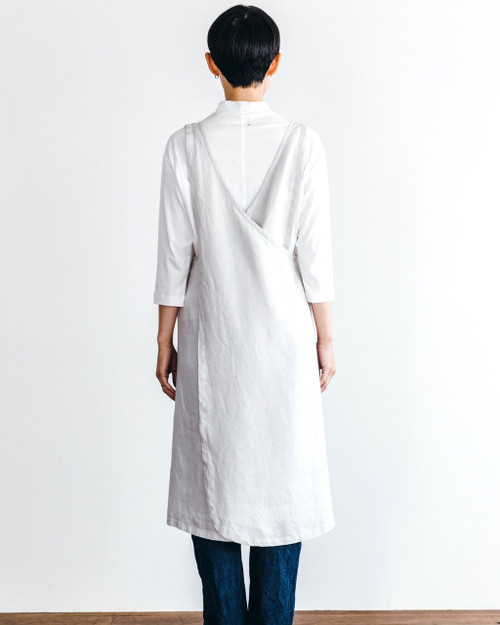 Linen Over Apron Dress in Natural Soft White Albatore