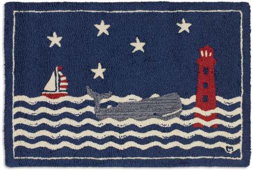 Wavy Whale with Lighthouse and Sailboat 2' x 3' Hooked Wool Rug