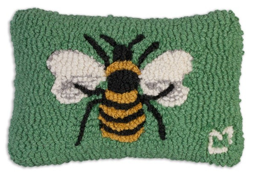"Bee Hooked Wool Pillow 8"" x 12"""