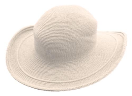 C3 Foxgloves Cotton Crochet Hat in White ONE SIZE