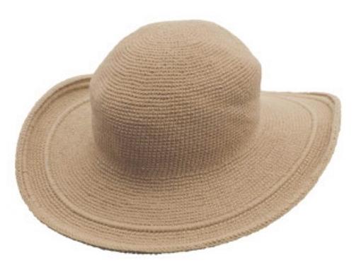 C3 Foxgloves Cotton Crochet Hat in Tan ONE SIZE