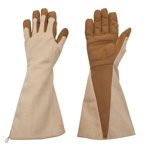 Foxgloves Gauntlet Extra Protection Gloves in Coffee size LARGE