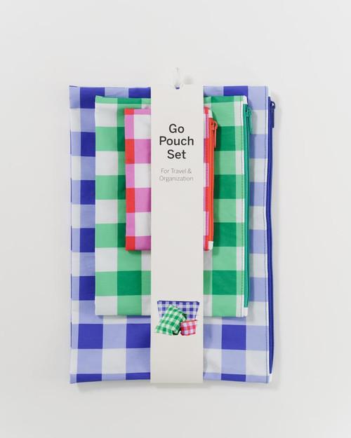 Baggu Go Pouch Set of Three in Big Check Multi Color