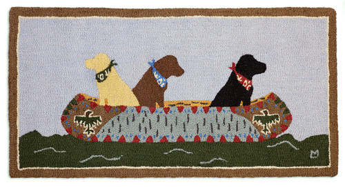 White Water Labs 2' x 4' Hooked Wool Rug