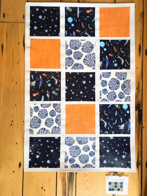 Canvas Floor Cloth in Ocean by Jane Dunstan of Creative Floor Cloth Designs