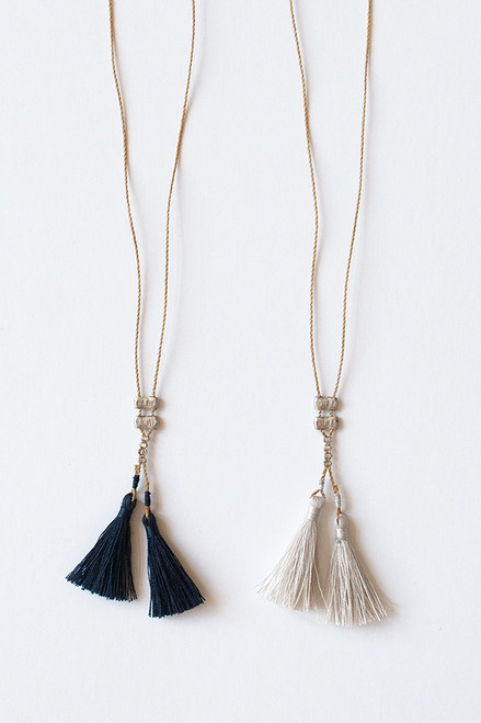 Tassel Necklace Dark Blue